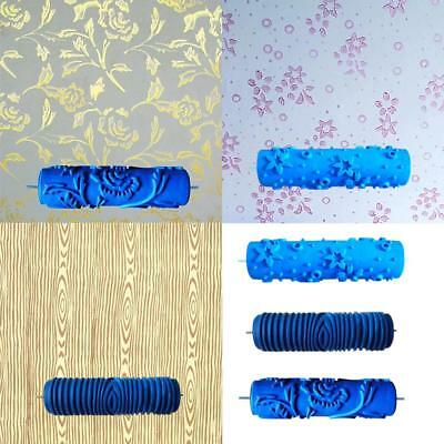 Rubber Flower Leaf Pattern Wall Painting Decoration DIY Tool Blue Roller Craft