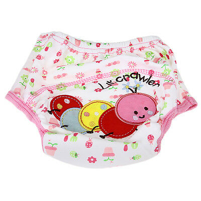 Cotton Reusable Infant Baby Diaper Pant Waterproof Cover Training Worm Print