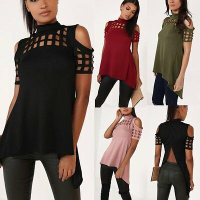 Fashion Womens Summer Choker Neck Caged Sleeve Loose Casual Blouse T Shirt Tops