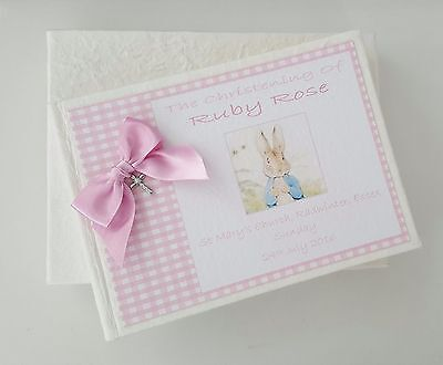 **personalised Guest Book Gift Boxed Christening - Boy Girl Beatrix Potter Peter