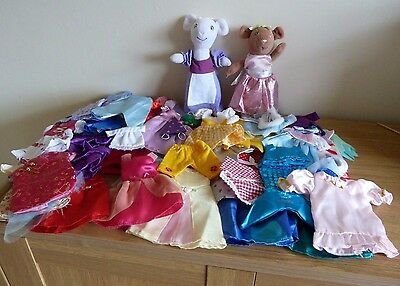Angelina Ballerina - Angelina & Alice soft toys plus approx 35+ outfits in box
