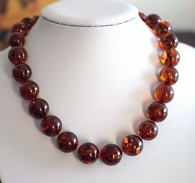 Vintage beads plastic amber colour necklace Cognac colour beads nice gift