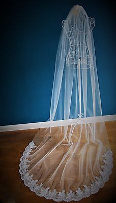 Wedding Veil *Cathedral Length*1 Tier*Off white/ Ivory*Wide Corded Lace*