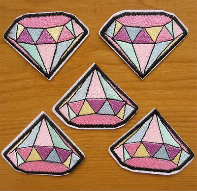 5pcs Color Diamond Embroidery Sew Iron On Patch Badge Transfers Fabric Applique