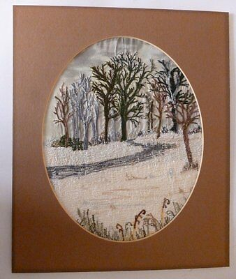 Path Through Trees, An Embroidered Picture In An Oval Mount