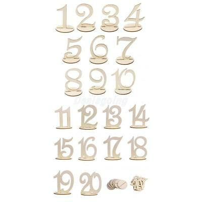 1-20 Wooden Freestanding Table Numbers Sign Stand Wedding Party Table Decor