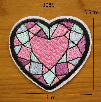 Color Heart Embroidery Sew Iron On Patch Badge Clothes Transfers Fabric Applique