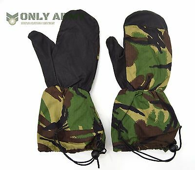 British Army Cold Weather Mittens Leather Palms Military Issue Gloves Camo