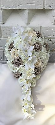 Ivory Roses Vintage Champagne  Wedding Flowers Brides Bouquet Teardrop Orchid