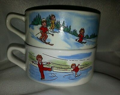 2 Campbell's Soup Kids Soup Bowls Mugs With Handles - Skiing & Skating - Ceramic