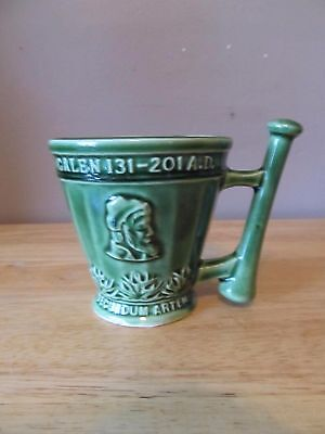 Vintage Schering/Coricidin Green Mortar & Pestle Pottery Mug~1960's Era~Nice!!