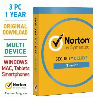 Norton Security 3.0 Deluxe 2019 3 PC 1 Jahr Mac Android Tablet