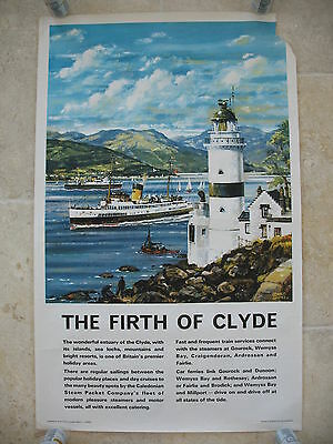 Original 1960 British Railway Poster The Firth of Clyde John S Smith Ferries