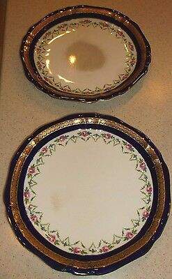 2 Vintage/antique Imperial Porcelain/wedgwood & Co. England Golden Accent Plates