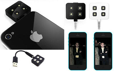 SELFIE Portable 4 LED ESTERNO LUCE FLASH PER SMARTPHONE CELLULARE IOS ANDROID