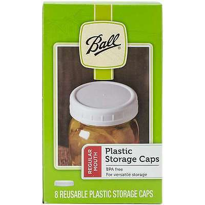 Ball Plastic Storage Caps 8/Pkg-Wide Mouth 014400370007