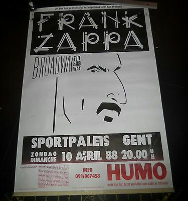 mega rare belgian 1988 FRANK ZAPPA ORIGINAL CONCERT POSTER Broadway the Hard Way