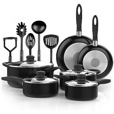 Non Stick Cookware Set 15 Piece Pots and Pans Ceramic Coating Kitchen Cooking
