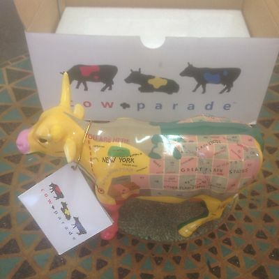 Cow Parade Figurine MAP COW #9162 - 2000 - Mint with Box, Packing and Tag