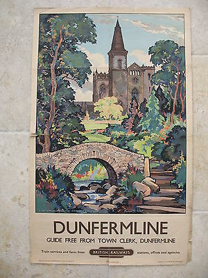 Original 1959 British Railways Poster Dunfermline Abbey and Park Kenneth Steel