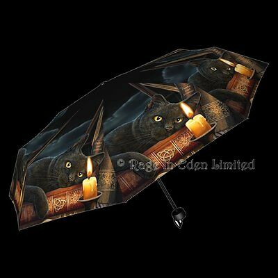 *THE WITCHING HOUR* Fantasy Black Cat Art Folding Umbrella By Lisa Parker