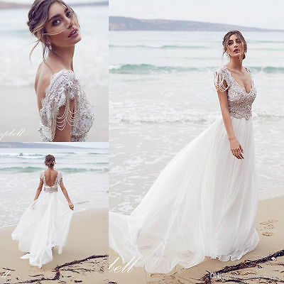 White Ivory beach lace chiffon Bridal Gown Wedding Dress Size 4 6 8 10 12 14 16+