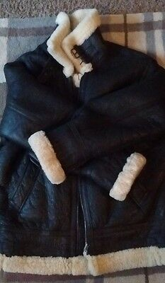 MENS REAL SHEEPSKIN COAT LARGE XL REAL LEATHER FLYING JACKET USAF WARTIME 40's