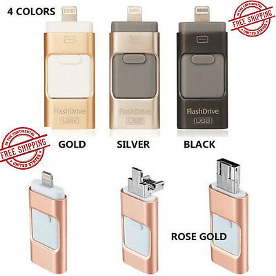 128GB i Flash Drive 3 in1 USB Memory Stick U Disk for Android/IOS iPhone PC