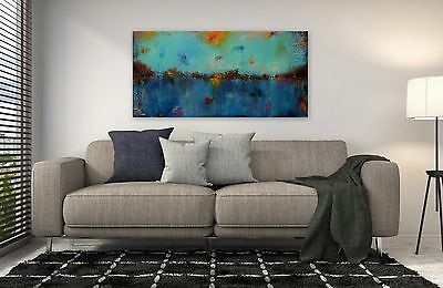 Huge Blue Abstract Painting Landscape Acrylic Art Original Artwork Ready to Hang