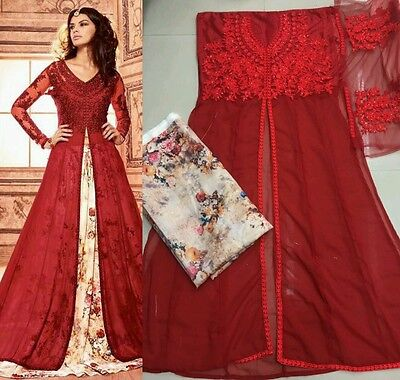 Bollywood Designer Red Lengha Fullystitched Shalwar Kameez Pakistani Indian Uk