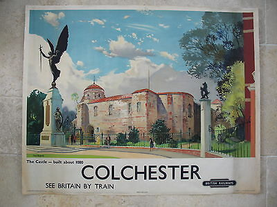 Original British Railways Poster Colchester Jack Merriott The Castle 1950s Essex
