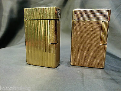 """Lot of 2 lighters """"S.T.Dupont"""",Line 1,Gold plated 20μ,parts or repair,Briquet"""