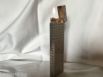 """""""S. T. Dupont"""" Large Table Lighter,Silver Plated,Line 1,Briquet- Accendino"""