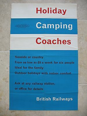 Original 1950s British Railways Poster Holiday Camping Coaches seaside country