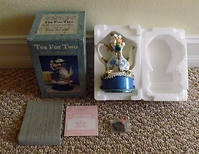 Brand New 1995 Enesco Tea For Two Mini Action Musical Mice Music Box # 902675