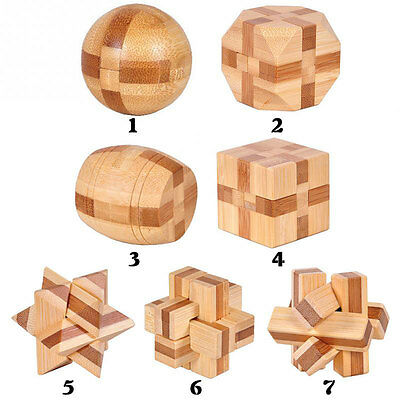 1PCS Bamboo Ming Lock 3D Handmade Wooden Toy Adults Puzzle Brain Teaser Game