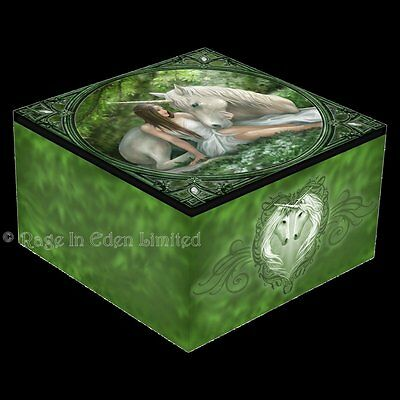 *PURE HEART* Unicorn Miden Trinket Box With Mirror By Anne Stokes