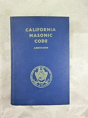 California 1956 Masonic Code Governing Law with 1969 Supplement Hardcover Book