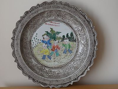 Chinese Famille Rose Porcelain Charger Plate Five Claw Dragon Qianlong Mark