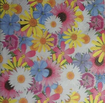 4 X single PAPER NAPKINS DECOUPAGE CRAFTING  TABLE PARTY - COLORFUL FLOWERS 42