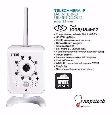 TELECAMERA IP DA INTERNO URMET CLOUD WI-FI 1093/184M12 720p 3.6 mm
