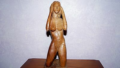Vintage Nude Lady Wood Hand Carved 1971 Costa Rica