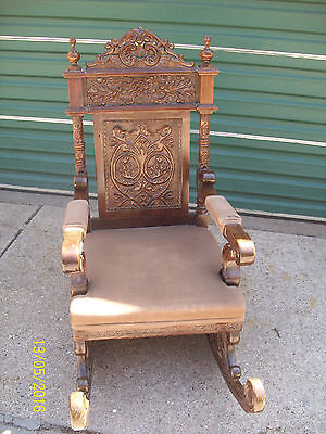Freanch Renaissance Style Ornately hand carved  rocking chair.1900-1950