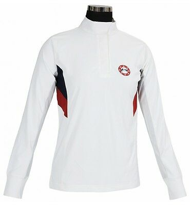 NEW Equine Couture Ladies Bostonian Tech Show Shirt -White/Blue/Red- XS, S, M, L