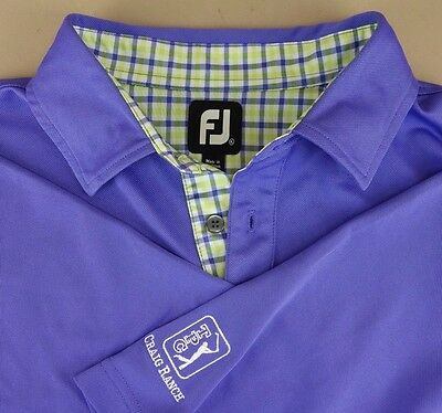 Footjoy FJ Tour Lisle Polo Golf Shirt Lavender Purple Plaid Men's Extra Large XL