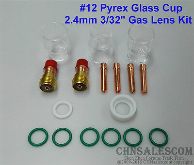 """17 pcs TIG Welding Stubby Gas Lens #12 Pyrex Cup Kit  for Tig WP-17/18/26 3/32"""""""