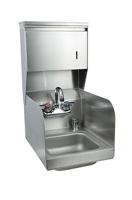"BK Resources 9""x9"" Hand Sink w/ Faucet, Splash Guard, Towel, & Soap Disp."