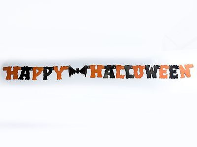 Vintage Happy Halloween paper banner party decoration - 54 inches long