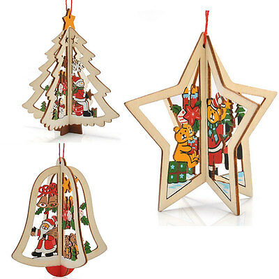 Wooden Xmas Tree Hanging Decors Pendant Merry Christmas Festival Gifts