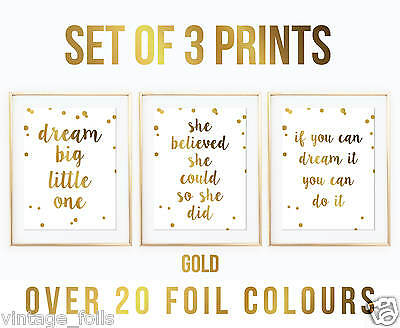 Set Of 3 Nursery Prints, Foil Print, Foil Sign, Nursery Print, Nursery Art,quote